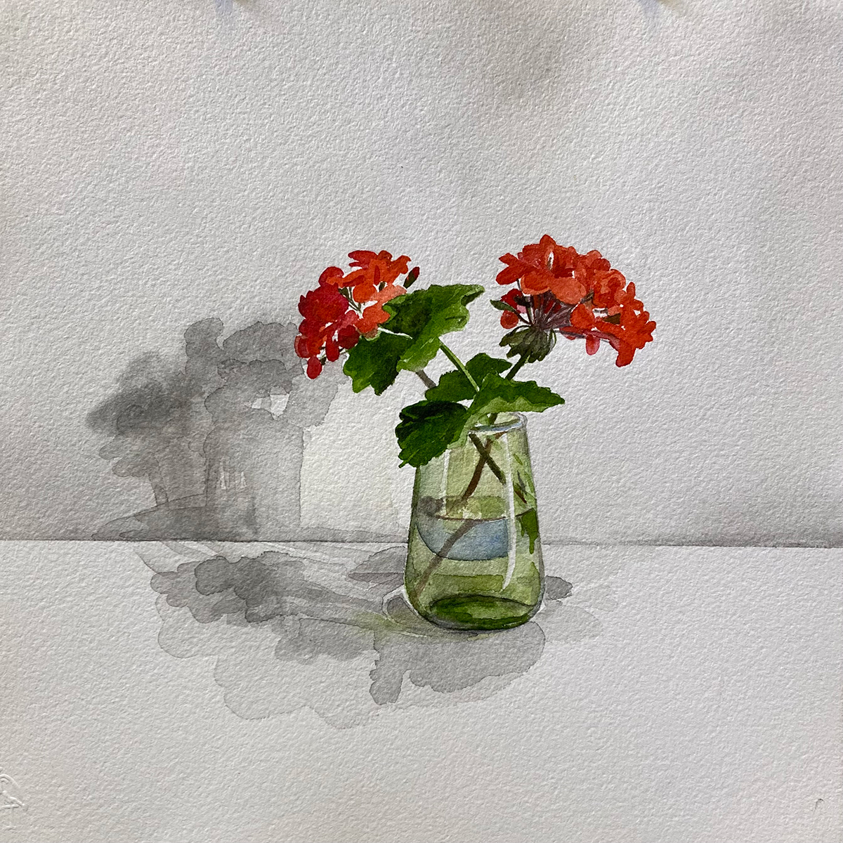 Geraniums and Green Glass