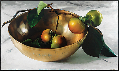 Copper Bowl with Persimmons