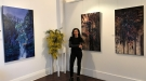 Gina Kalabishis with her install Once In A Blue Moon